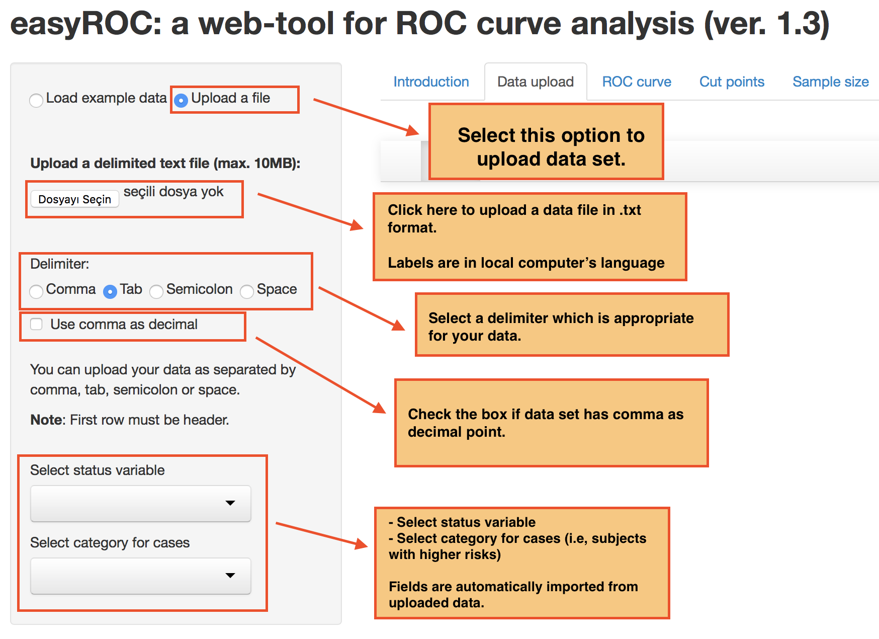 easyROC: a web-tool for ROC curve analysis (ver. 1.3)